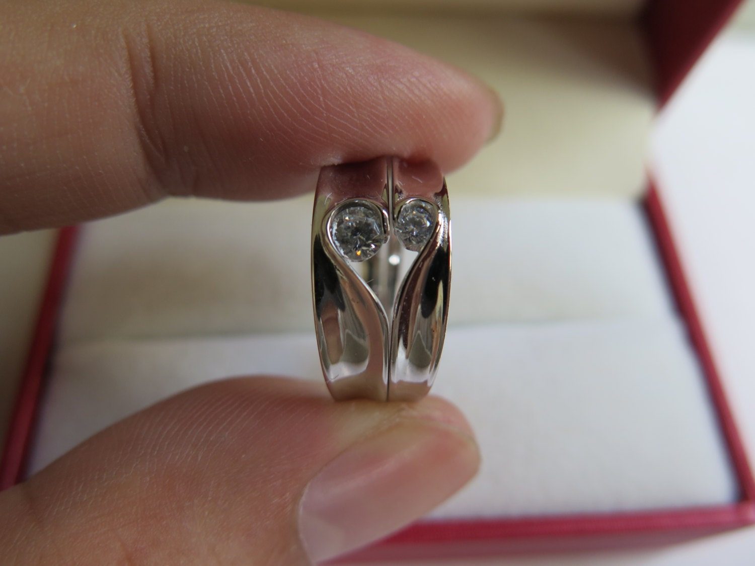 2pcs Heart Shaped Puzzle Titanium Couple Rings Lovers By