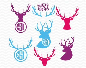 Deer head monogram designs, SVG, DXF, EPS cutting files for use with Silhouette Studio Designer Edition and Cricut Design space.