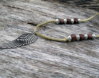 Olive Leather and Wood Bead Neclace, Leather Neclace, Olive Leather Necklace, Faux Leather Necklace, Feather Neclace, Necklace