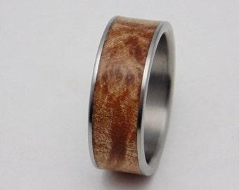 Bentwood,Titanium and Maple burl inlay wedding band, wood ring