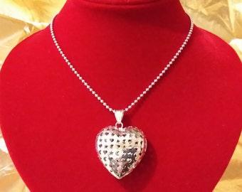 Collana/ girocollo, in argento 925, italiano, con cuore.