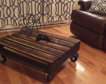 Coffee table with recycled pallet
