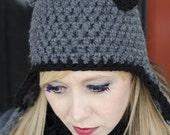 crochet PATTERN Cat Ears Hat, earflap hat crochet pattern