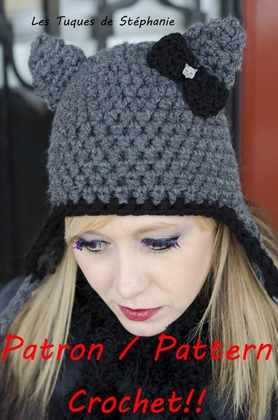 PATRON tuque oreilles de chat au CROCHET, TUTO bonnet oreille de chat avec  noeud