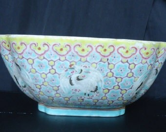 Antique Chinese Famille Rose Qing Dynasty bowl 1851 xian feng
