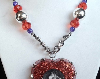 STIV BATORS of The Dead Boys & The Lords of the New Church Glitter Heart Pendant with Beaded Chain