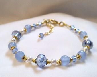 Aquamarine Bracelet  - Aquamarine Crystal Pearl Bracelet - March Birthstone Bracelet -