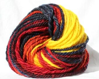 Hand dyed Yarn, hand spun yarn, gradient yarn, black / red / orange / yellow yarn, bulky weight yarn, fire yarn, flame yarn, 100g