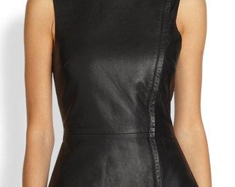 Black leather peplum top flaterring waist Genuine Lamskin Leather