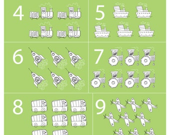 childrens 1-10 numbers art - A4 wall art - boys counting - girls counting