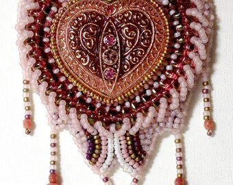 Bead Embroidery Kit: Be Still My Heart (in pink and gold)