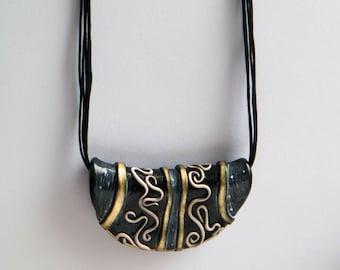 Polymer clay tribal necklace, Black gold necklace,Tribal jewelry, Ethnic inspired jewelry, Artisan jewelry