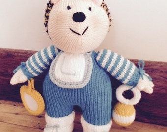 Jean Greenhowe - Baby Boy Hedgehog - Christening - Birthday - Gift - Knitted Doll - Knitted Animal