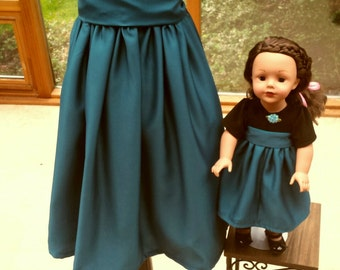 Special Occasion, Turquoise/Black Girl dress, Size 6-8, Matching Doll dress ***SALE***