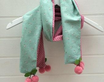 Pretty Kids Blue Flower & Pink Spotty Cherry Pom Pom Scarf