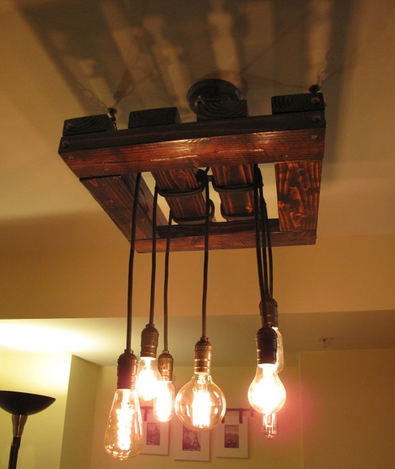 Wood Lighting Fixtures: Edison Bulb Chandelier. Beautiful Rustic Wood Light Fixture