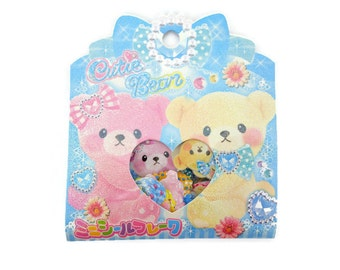 71 Kawaii Japanese teddy bear & bunny rabbits sticker flakes - hearts and crown - cute fluffy bear toys - emoticon faces - treasure chest -