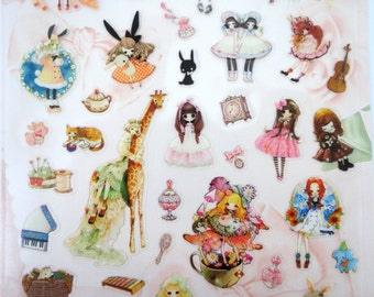 Lolita stickers - kawaii stickers - Japanese stickers - kawaii girl stickers - hime lolita - Japan street fashion - otome & natural Kei
