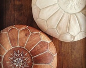 SET of 2 POUF,Leather Handmade Moroccan Pouf, Ottoman Cover, Footstool,Hassock,Pouffe,Pouffes