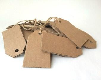 Recycled Gift Tags - Set of 25 - Handmade - Blank Cardboard Tags - Kraft