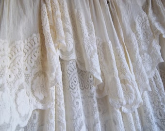 Vintage Pair Of Ivory Lace And Chenille Curtains Two