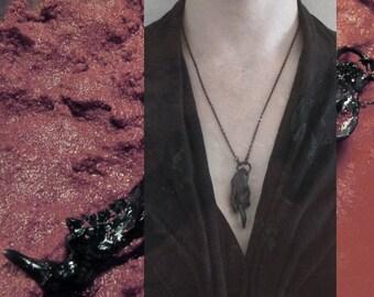 Rodent skull fragment crystal pendant - black
