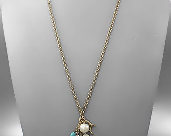CLEARANCE - Shell & Coral Charms Necklace