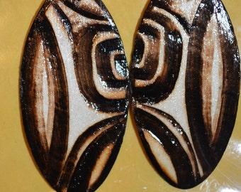 Tribal Design, Med Oval shape hand wood burned earring