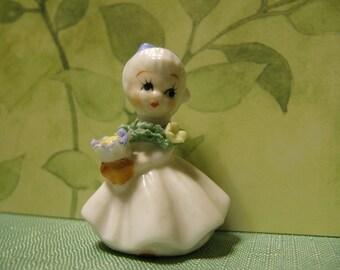 ENESCO Flower Girl Figurine   Porcelain Miniature Girl   Collectible Miniature