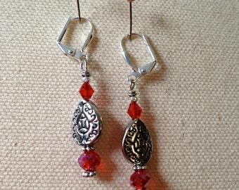 SALE*** Paisley & Red Crystal Western Earrings