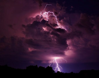 lightning, bolt, strike, photo, storm, print, color, nature, Missouri, weather, home decor, wall art