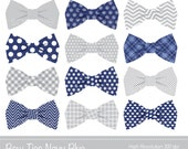 Bow Ties Clipart, Bowtie Clip art, Navy Blue,  Grey,  Personal & Commercial Use, INSTANT DOWNLOAD