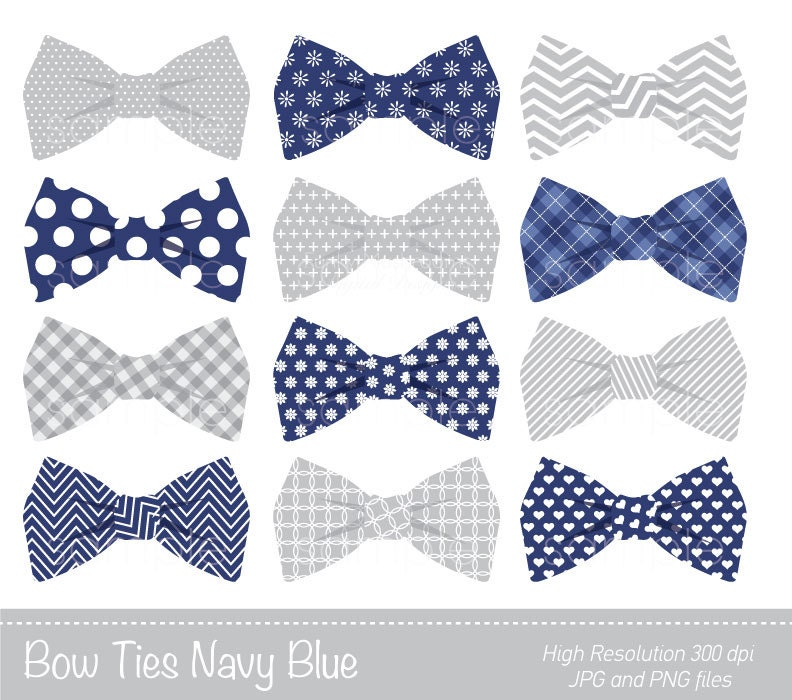 Bow Ties Clipart Bowtie Clip Art Navy Blue Grey Personal
