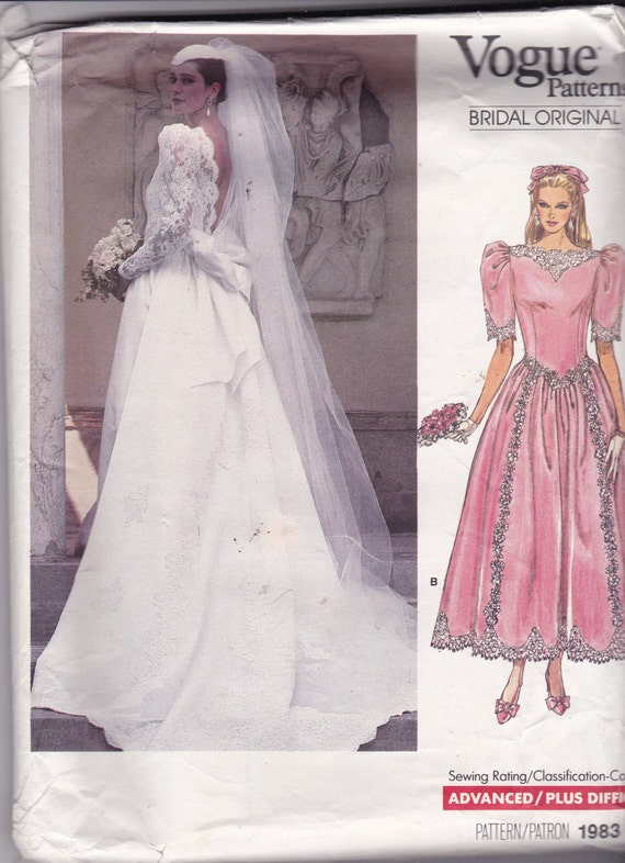 Vogue 1983 Vintage Pattern Wedding Dress Or Bridesmaid Dress Size 10 UNCUT From OhSewVogue On
