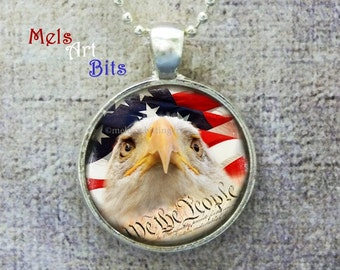 American Flag Eagle Photo Pendant Necklace or Keychain, Military Patriotic Stars and Stripes, We the People Constitution, Red White Blue