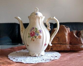 Vintage Bavaria Mitterteich Coffeepot - wunderschoenes Floral Motif Porcelain Original Storm of the Century Stephen King movie