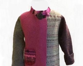 Kid's upcycled felted wool jacket size 3-4T