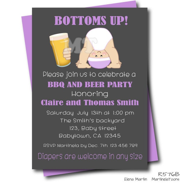 beer and babies dad baby shower invitation couples baby, Party invitations