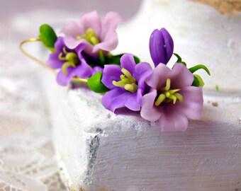 Earrings with Bellflowers - Earring - Women Accessories - Flower Floral Earrings - Gift - Flower Wedding Earrings