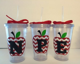 Personalized Teacher Tumbler-End Of The Year-Thank You-Appreciation Gift-Chevron Apple Monogram!