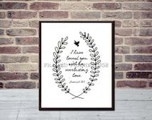 LOVE Biblical Quote Art Print, PDF & JPEG, Printable Home Decor Wall Art, Instant Download, 5 x7 Vertical Print