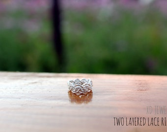 Two layered Lace Ring! Sterling silver lace ring~