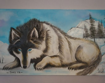 Winter Wolf Oil Painting
