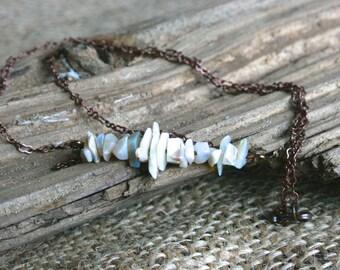 Kato Samiko necklace, opal necklace, opal jewelry, metal necklace, October birthstone, birthstone necklace, white necklace, modern jewelry