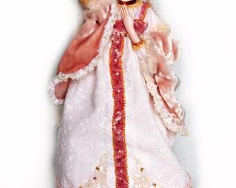 OOAK art doll in Russian style - handmade interior winter doll Snegurochka (Snow girl) - Winter decor - collectible doll - 8 inch