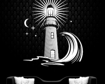 Lighthouse Wall Decal Wall Vinyl Sticker Nautical Ocean Home Interior Removable Bedroom Decor (6lhs)