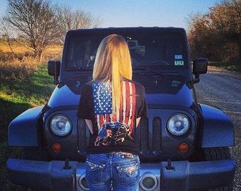 American Flag Wrangler JK Crewneck Tagless Jeep Shirt Black