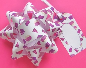 Birthday Girl Bows & Tagss - DIY, Instant Download, Gift Wrap, Digital Print, Cut Out Craft, Craft Kit