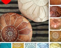 2 Premium Moroccan Pouf Leather- Round floor pouf in color,Ottoman pouffe pouf,Home Decor,FootStool housewares,Chair Seating Stool,pouf.