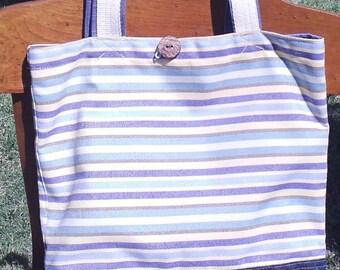 Striped Beach tote, purse, bag, tote, beach bag, Striped tote bag, Waxed bottom tote, Blue Yellow tote, blue yellow bag, 13x14 tote